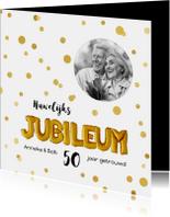 Uitnodiging huwelijks jubileum ballonnen goud