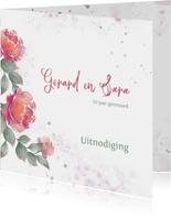 Uitnodiging huwelijksjubileum rozen waterverf - vierkant