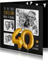 Uitnodiging jubileum ballonnen goud 40
