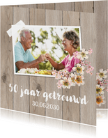 Uitnodiging jubileum foto bloemen