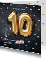 Uitnodiging jubileum huwelijk ballon 10