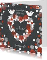 uitnodiging jubileum met hart en duifjes