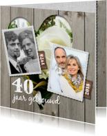 Uitnodiging jubileumkaart 40 jaar - bloemen hart