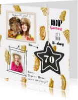 Uitnodiging kaart feestje goud confetti
