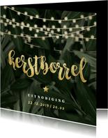 Uitnodiging kerstborrel jungle bladeren met lampjes