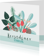 Uitnodiging kerstdiner botanisch