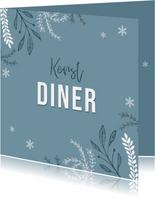 Uitnodiging kerstdiner stijlvol winter pastel blauw