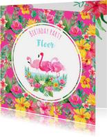 Uitnodiging kinderfeestje flamingo en tropische bloemen