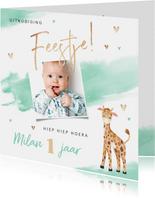 Uitnodiging kinderfeestje jongen 1 jaar giraf waterverf