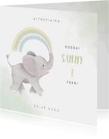 Uitnodiging kinderfeestje jongen met olifantje en regenboog