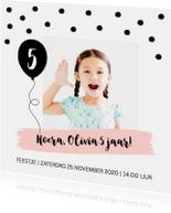 Uitnodiging kinderfeestje meisje confetti ballon