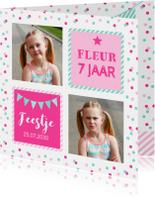 Uitnodiging kinderfeestje meisje confetti roze vakken