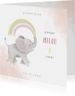 Uitnodiging kinderfeestje meisje met olifantje en regenboog