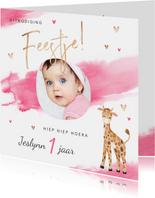uitnodiging kinderfeestje meisje waterverf giraf hartjes