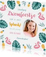 Uitnodiging kinderfeestje meisje zwemmen flamingo ananas