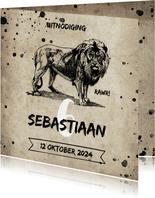 Uitnodiging kinderfeestje met oud papier, leeuw en spetters