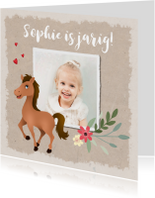 Uitnodiging kinderfeestje paardje met foto