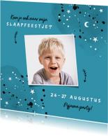 Uitnodiging kinderfeestje slaapfeestje voor een jongen