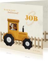 Uitnodiging kinderfeestje tractor met foto en hekje