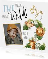 Uitnodiging kinderverjaardag met jungledieren en grote '2'