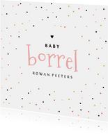 Uitnodiging kraamfeest babyborrel meisje confetti hartje