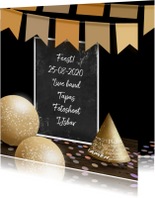 Uitnodiging krijtbord confetti en slinger