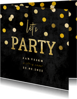 Uitnodiging krijtbord gouden 'let's party' met confetti
