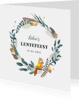 Uitnodiging lentefeest bohemian met vogeltje