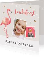 Uitnodiging lentefeest meisje flamingo gouden hartjes