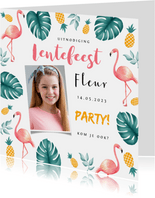 Uitnodiging lentefeest tropical hawaii flamingo ananas