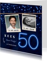 Uitnodiging man 50 jaar neon confetti foto slinger