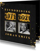 Uitnodiging met foto en goudlook 1971/2021