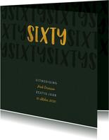 Uitnodiging met gouden sixty en papierlook stijlvol