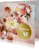 Uitnodiging met klassiek bloem boeket roze