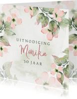 Uitnodiging met roze bloemen in waterverf met foto