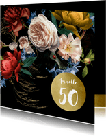 Uitnodiging modern klassiek bloem stilleven met goud