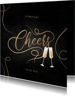 Uitnodiging nieuwjaarsborrel champagne met gouden linten