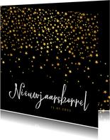 Uitnodiging nieuwjaarsborrel sterren goud confetti