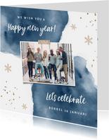 Uitnodiging nieuwjaarsborrel zakelijk goudlook watercolor