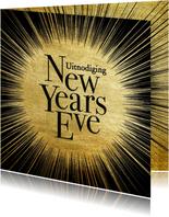 Uitnodiging oud en nieuw gouden ster met typografie