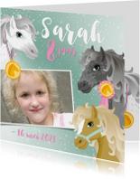 Uitnodiging paarden meisje roze eigen foto