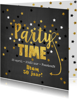 Uitnodiging Party-Time kaart krijtbord en sterren goud