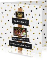 Uitnodiging Party-Time tekst borden en sterren goud