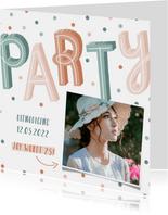 Uitnodiging pastel party met confetti