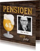 Uitnodiging pensioen bierglas met foto en leeftijd