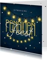 Uitnodiging pensioenfeest krijtbord goud lampjes confetti