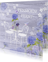 uitnodiging pensioenfeest tuin