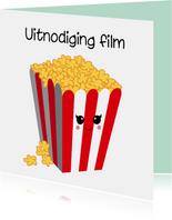 Uitnodiging popcorn kaart