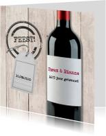 Uitnodiging rode wijn met label