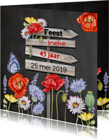 Uitnodigingen - Uitnodiging schoolbord klaprozen